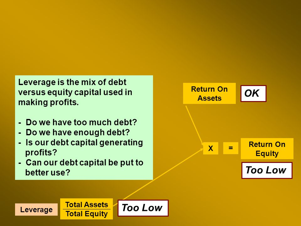 Return On Assets Total Assets Total Equity Return On Equity X = Leverage Leverage is the mix of debt versus equity capital used in making profits.