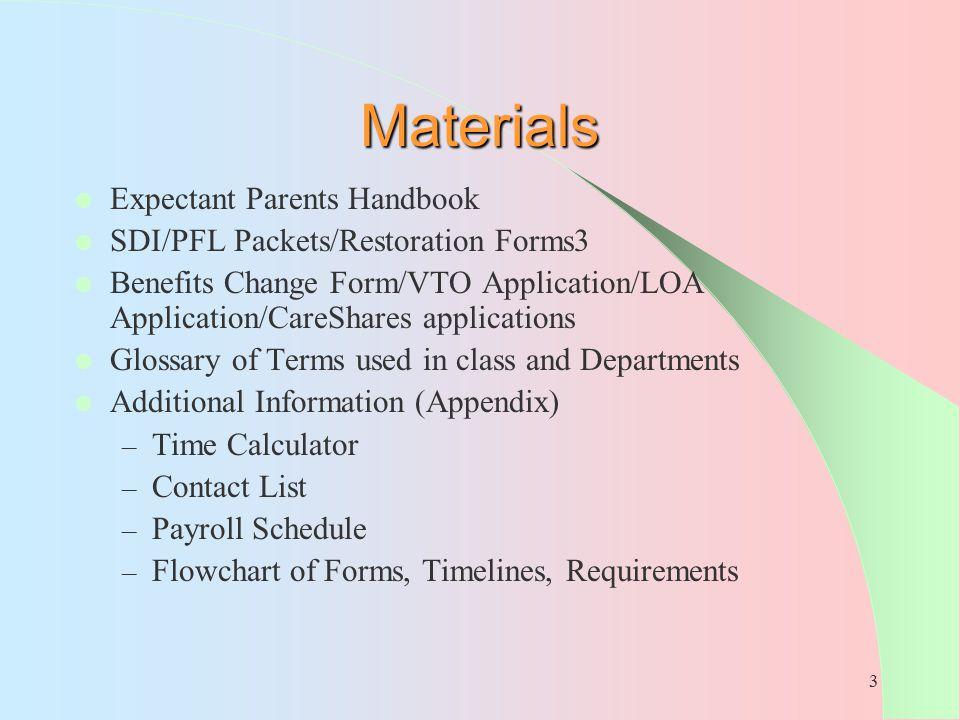 3 Materials Expectant Parents Handbook SDI/PFL Packets/Restoration Forms3 Benefits Change Form/VTO Application/LOA Application/CareShares applications