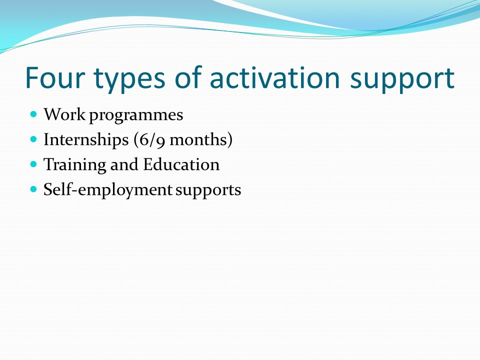 Four types of activation support Work programmes Internships (6/9 months) Training and Education Self-employment supports