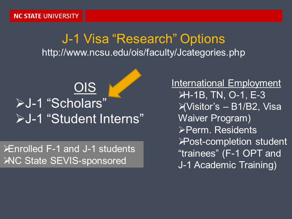 NC STATE UNIVERSITY J-1 Visa Research Options http://www.ncsu.edu/ois/faculty/Jcategories.php OIS  J-1 Scholars  J-1 Student Interns International Employment  H-1B, TN, O-1, E-3  (Visitor's – B1/B2, Visa Waiver Program)  Perm.