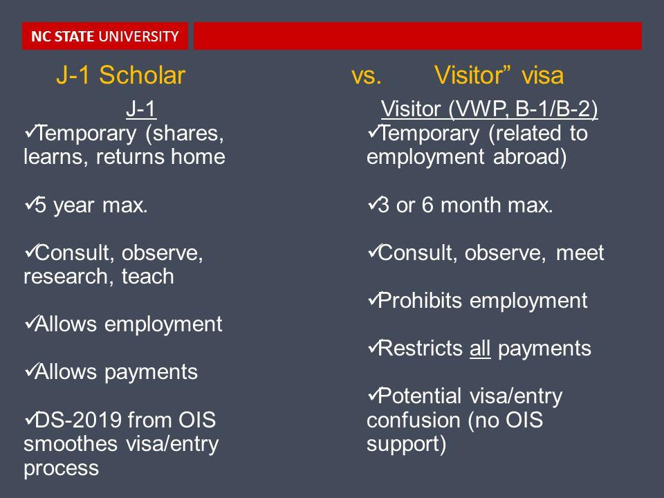 NC STATE UNIVERSITY J-1 Scholar vs.
