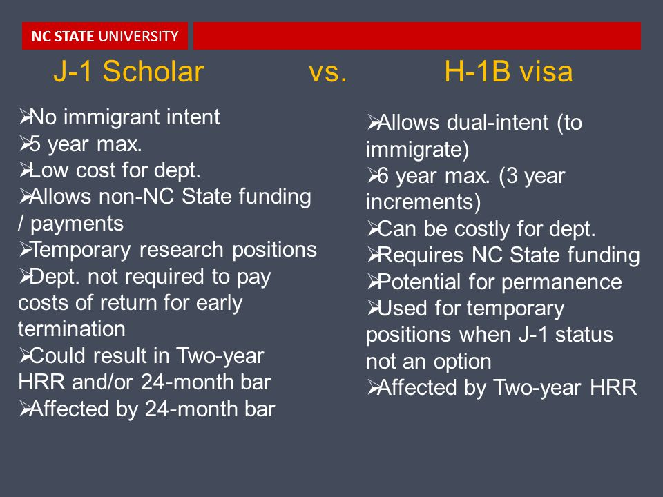 NC STATE UNIVERSITY J-1 Scholar vs. H-1B visa  No immigrant intent  5 year max.