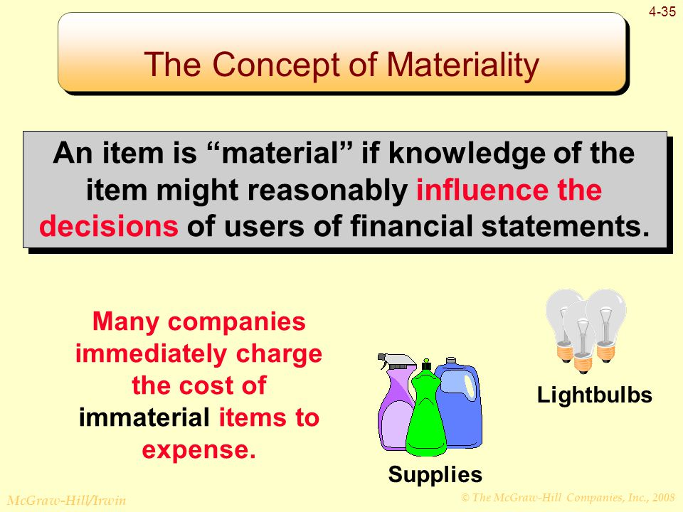 © The McGraw-Hill Companies, Inc., 2008 McGraw-Hill/Irwin 4-35 An item is material if knowledge of the item might reasonably influence the decisions of users of financial statements.