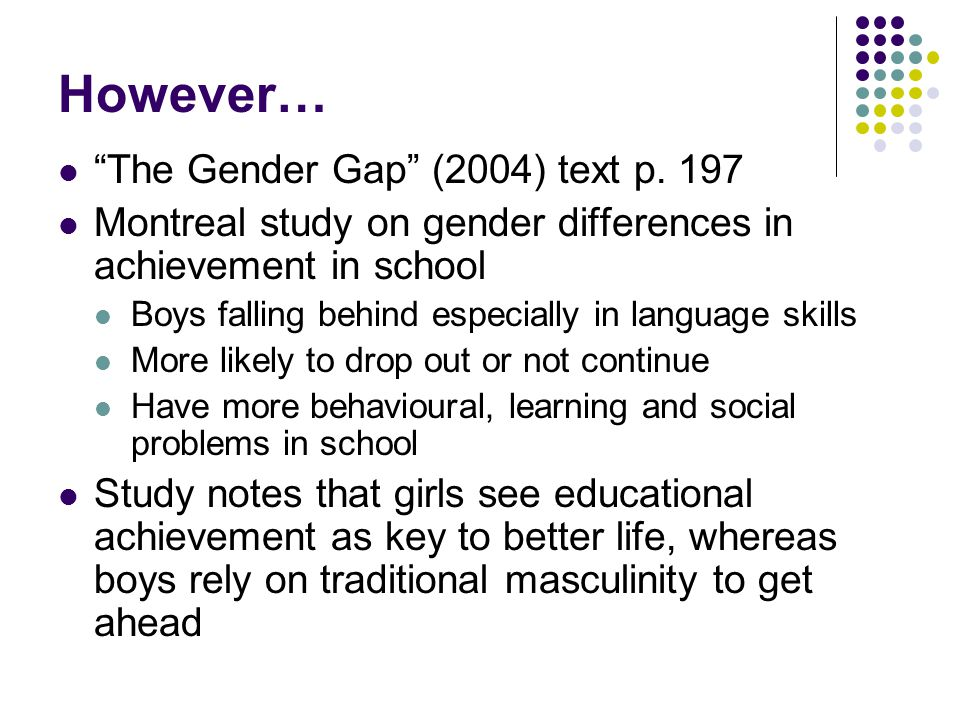 However… The Gender Gap (2004) text p.