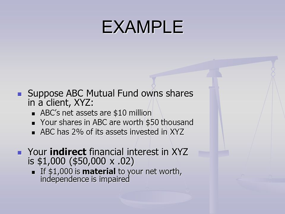 EXAMPLE Suppose ABC Mutual Fund owns shares in a client, XYZ: Suppose ABC Mutual Fund owns shares in a client, XYZ: ABC's net assets are $10 million A