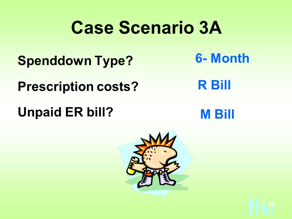 50 Case Scenario 3A Spenddown Type Prescription costs Unpaid ER bill 6- Month R Bill M Bill
