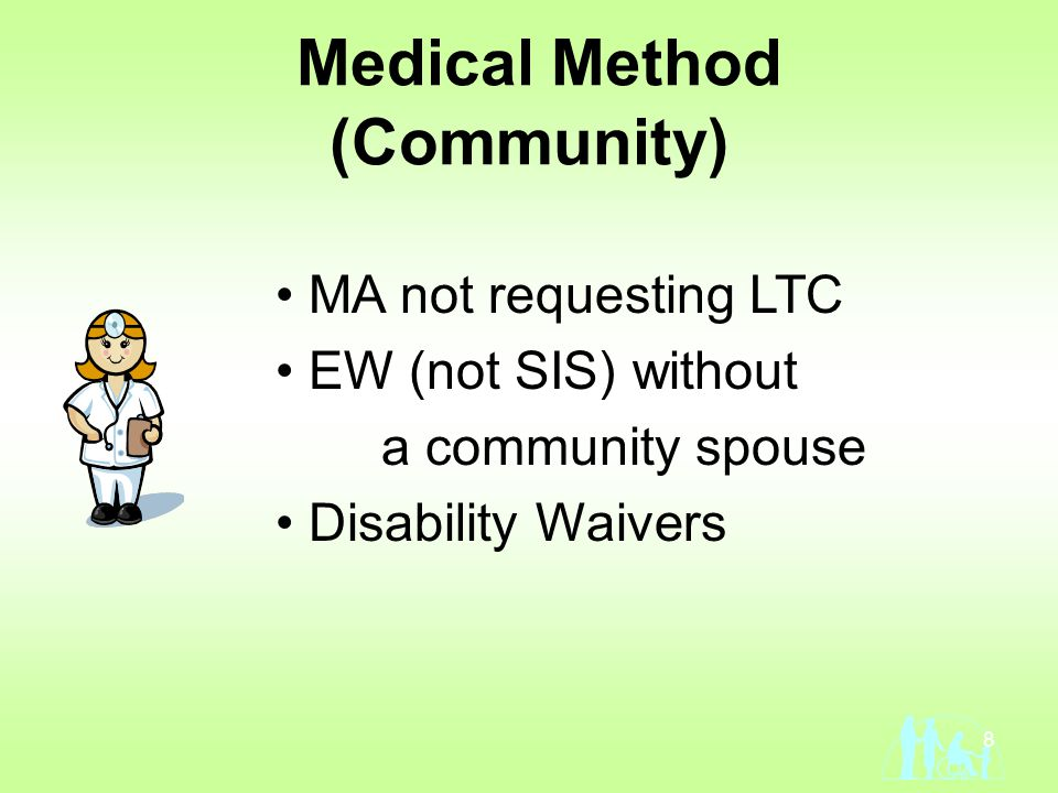 8 Medical Method (Community) MA not requesting LTC EW (not SIS) without a community spouse Disability Waivers