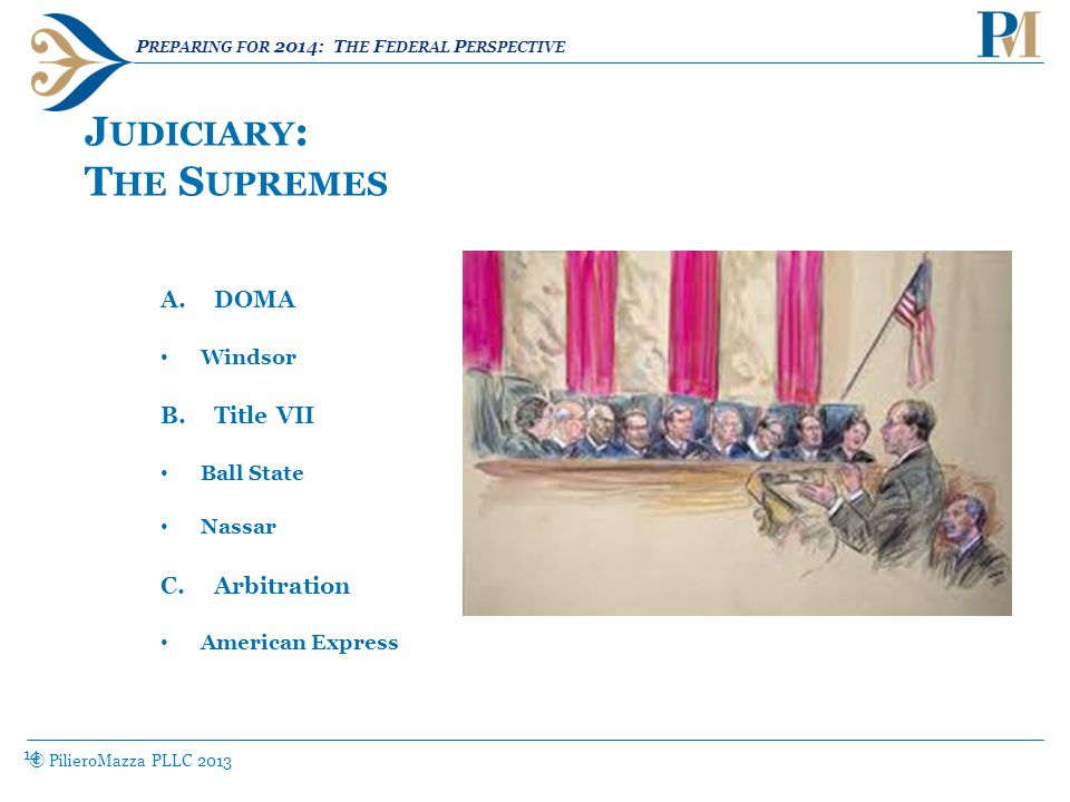 14 J UDICIARY : T HE S UPREMES © PilieroMazza PLLC 2013 A.DOMA Windsor B.Title VII Ball State Nassar C.Arbitration American Express P REPARING FOR 2014: T HE F EDERAL P ERSPECTIVE