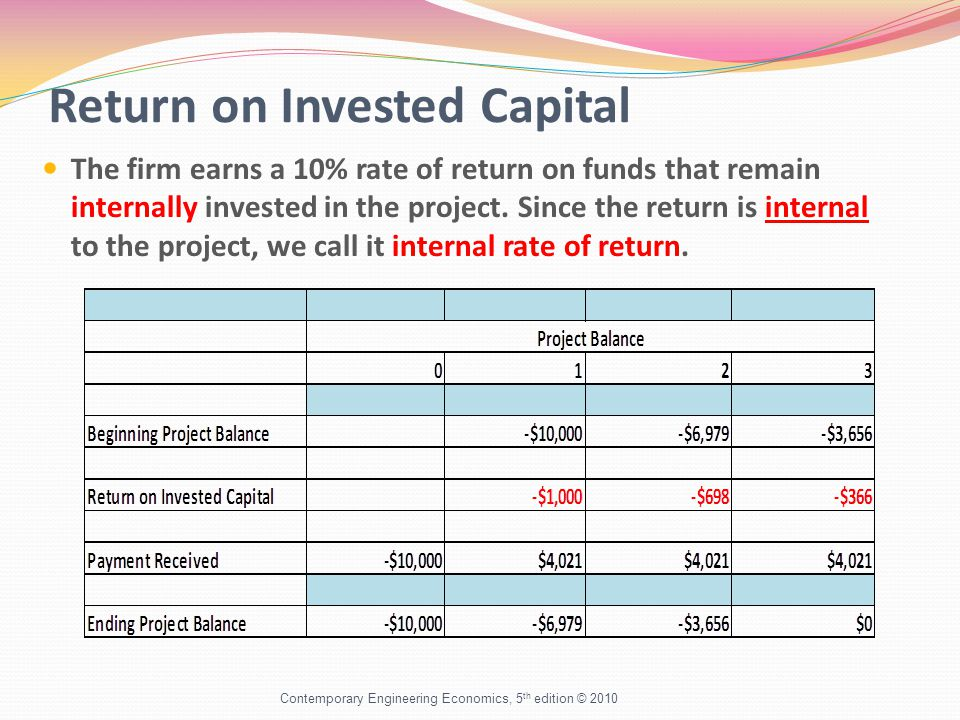 Return on Invested Capital The firm earns a 10% rate of return on funds that remain internally invested in the project. Since the return is internal t