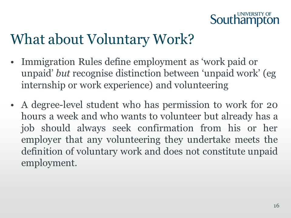 What about Voluntary Work.