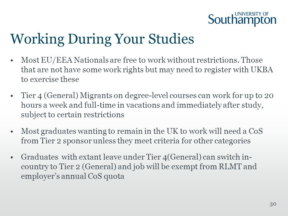 30 Working During Your Studies Most EU/EEA Nationals are free to work without restrictions.