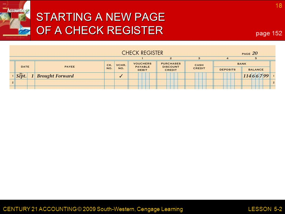 CENTURY 21 ACCOUNTING © 2009 South-Western, Cengage Learning 18 LESSON 5-2 STARTING A NEW PAGE OF A CHECK REGISTER page 152
