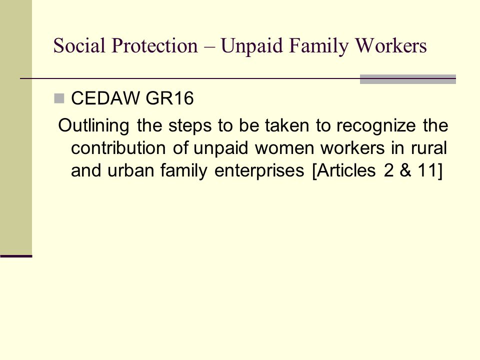 Social Protection – Unpaid Family Workers CEDAW GR16 Outlining the steps to be taken to recognize the contribution of unpaid women workers in rural and urban family enterprises [Articles 2 & 11]