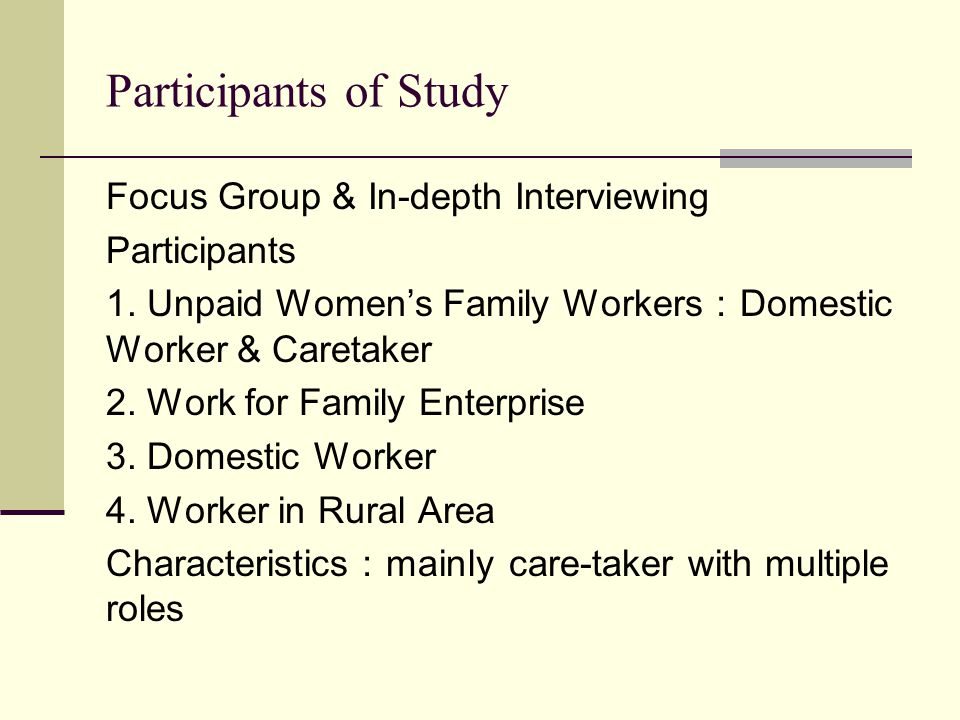 Participants of Study Focus Group & In-depth Interviewing Participants 1.