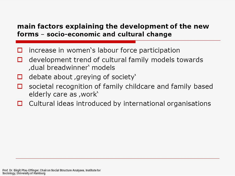 main factors explaining the development of the new forms – socio-economic and cultural change  increase in women's labour force participation  devel