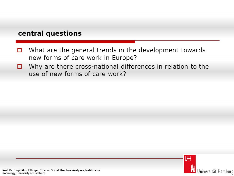central questions  What are the general trends in the development towards new forms of care work in Europe?  Why are there cross-national difference