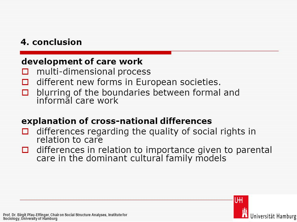 4. conclusion development of care work  multi-dimensional process  different new forms in European societies.  blurring of the boundaries between f