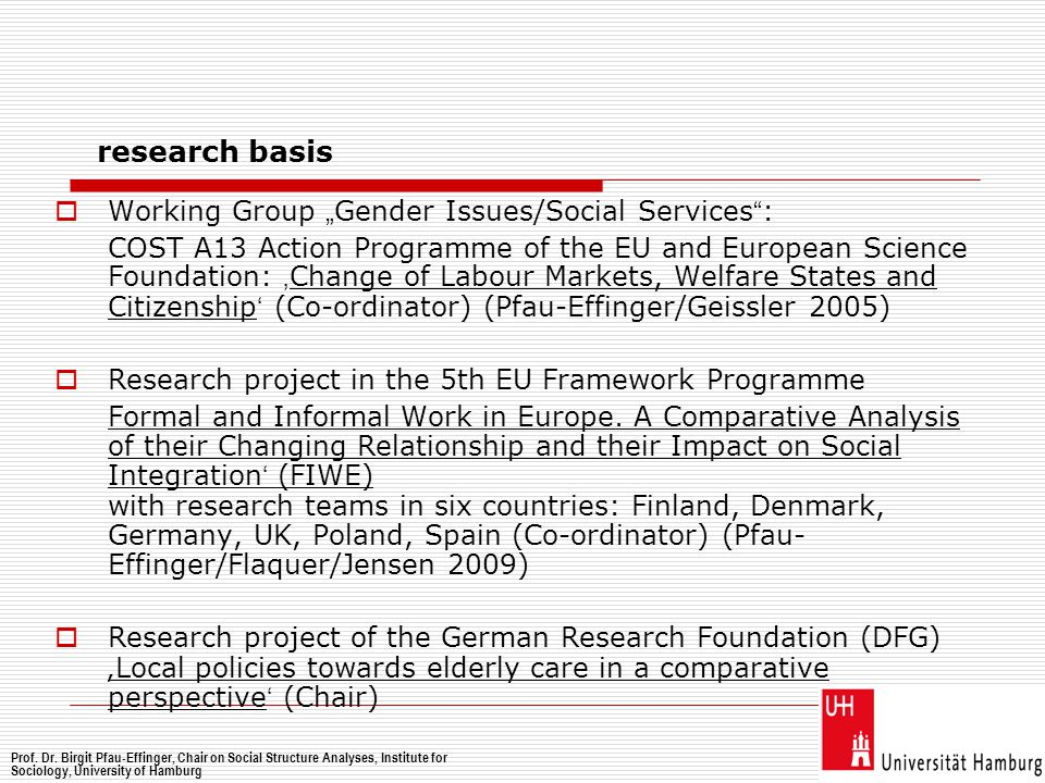 " Working Group "" Gender Issues/Social Services "" : COST A13 Action Programme of the EU and European Science Foundation: ' Change of Labour Markets, W"
