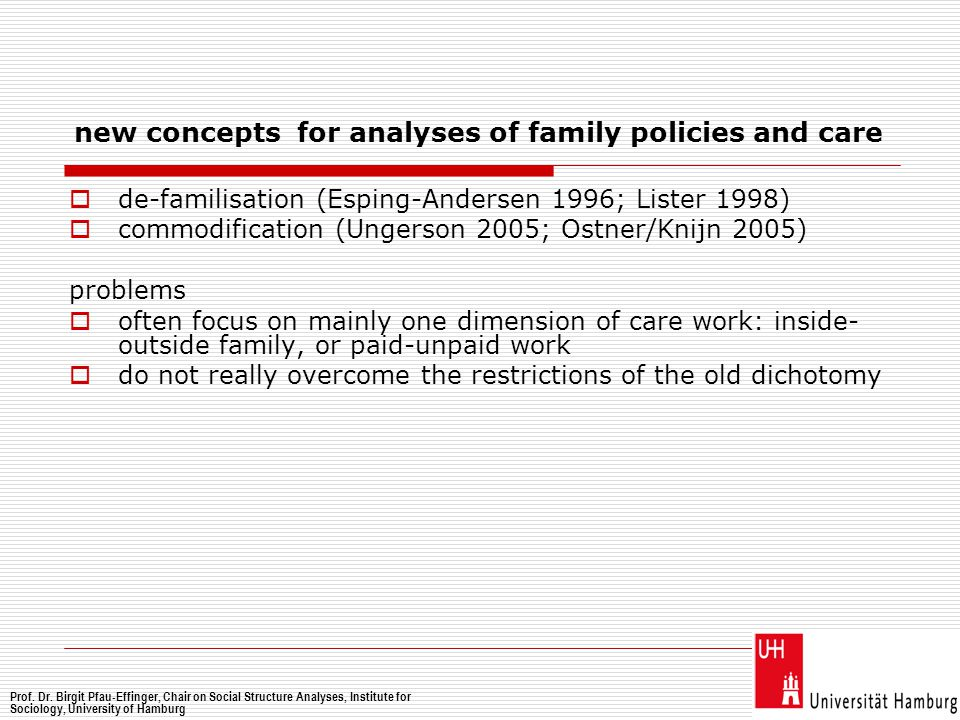 new concepts for analyses of family policies and care  de-familisation (Esping-Andersen 1996; Lister 1998)  commodification (Ungerson 2005; Ostner/K