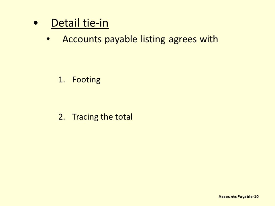 Detail tie-in Accounts payable listing agrees with 1.Footing 2.Tracing the total Accounts Payable-10