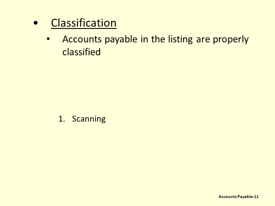 Classification Accounts payable in the listing are properly classified 1.Scanning Accounts Payable-11