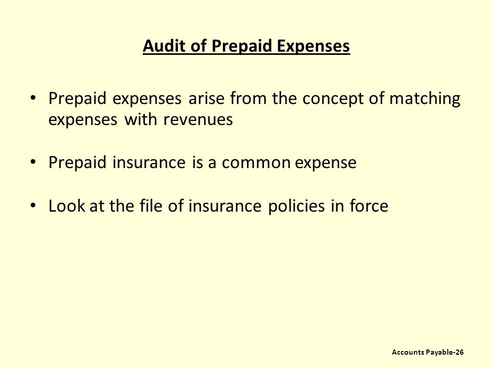 Audit of Prepaid Expenses Prepaid expenses arise from the concept of matching expenses with revenues Prepaid insurance is a common expense Look at the
