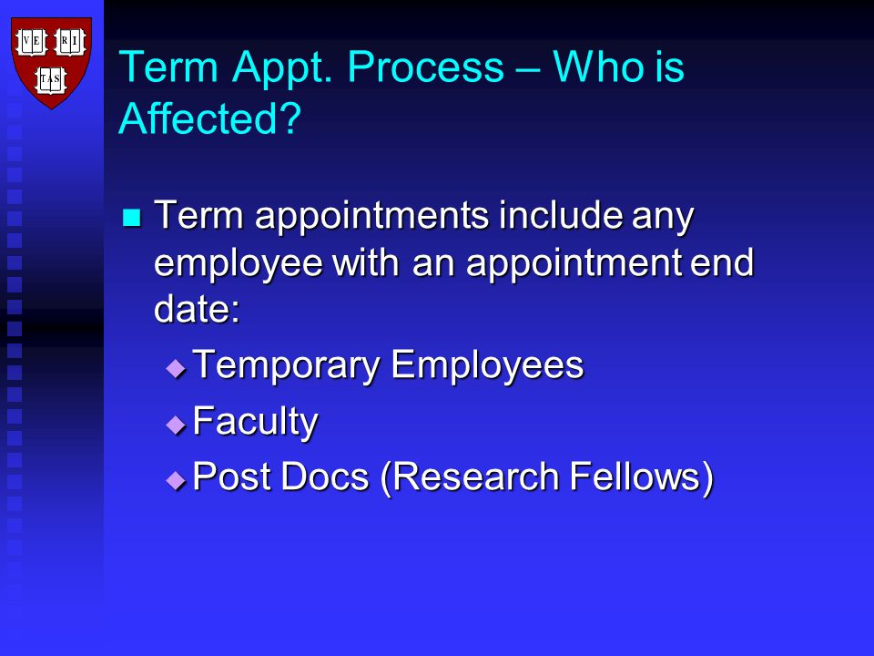 Term Appt. Process – Who is Affected.