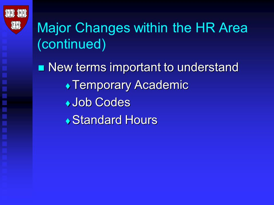 Benefits of the Term Appointment Process Automatically terminates employees at the appropriate time Automatically terminates employees at the appropriate time Reduces unintended liability on Harvard Reduces unintended liability on Harvard Ensures that individuals receive timely notification of any post-employment benefits changes Ensures that individuals receive timely notification of any post-employment benefits changes Provides consistency across Harvard Provides consistency across Harvard Provides local units with the opportunity to audit the process through a reappointment audit report Provides local units with the opportunity to audit the process through a reappointment audit report