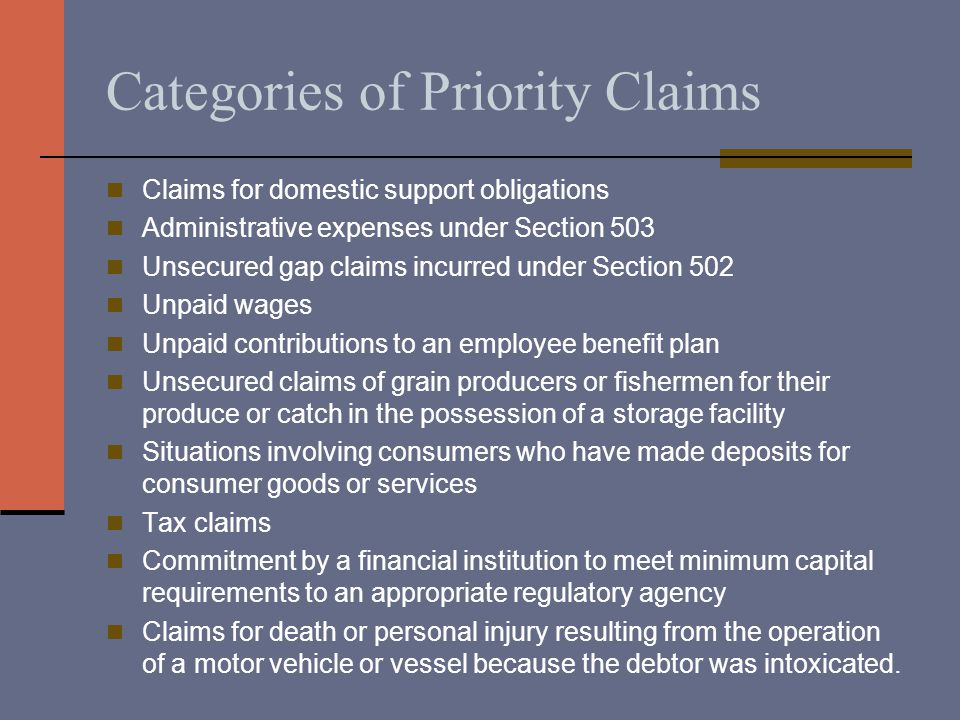 Categories of Priority Claims Claims for domestic support obligations Administrative expenses under Section 503 Unsecured gap claims incurred under Se