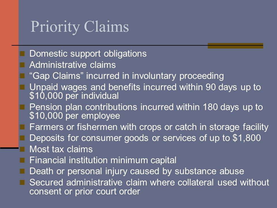 Priority Claims Domestic support obligations Administrative claims Gap Claims incurred in involuntary proceeding Unpaid wages and benefits incurred within 90 days up to $10,000 per individual Pension plan contributions incurred within 180 days up to $10,000 per employee Farmers or fishermen with crops or catch in storage facility Deposits for consumer goods or services of up to $1,800 Most tax claims Financial institution minimum capital Death or personal injury caused by substance abuse Secured administrative claim where collateral used without consent or prior court order