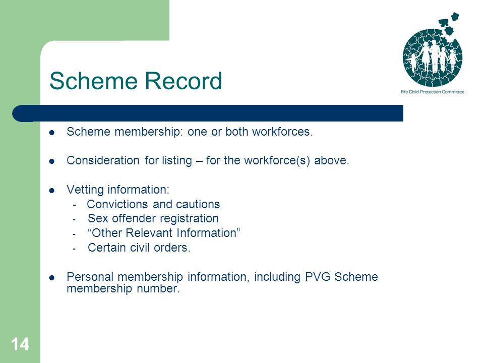 14 Scheme Record Scheme membership: one or both workforces.