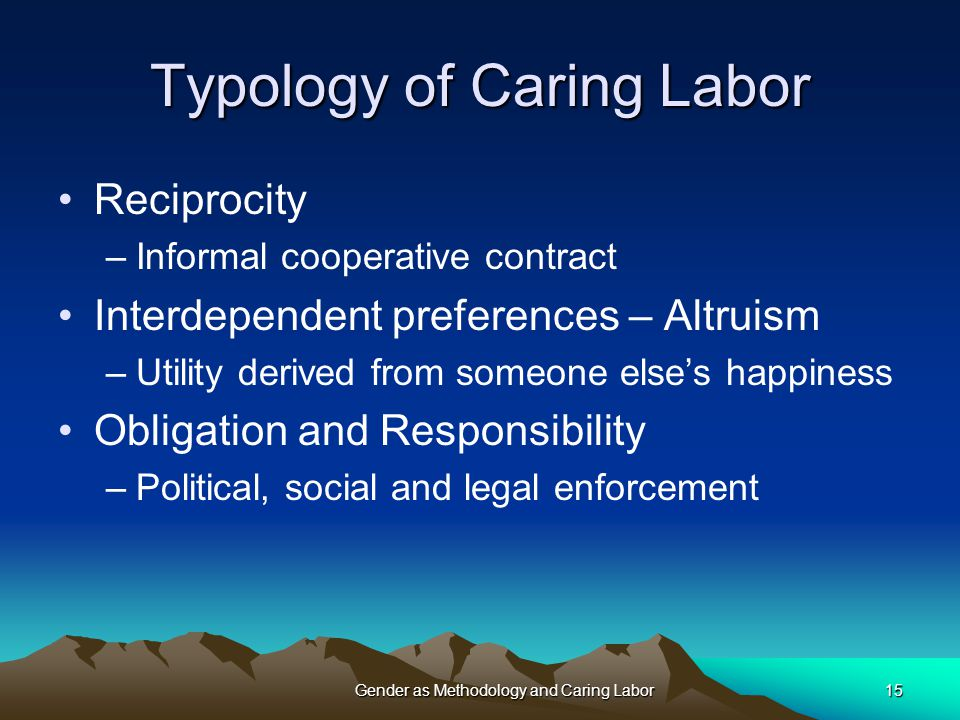 Typology of Caring Labor Reciprocity –Informal cooperative contract Interdependent preferences – Altruism –Utility derived from someone else's happiness Obligation and Responsibility –Political, social and legal enforcement Gender as Methodology and Caring Labor15
