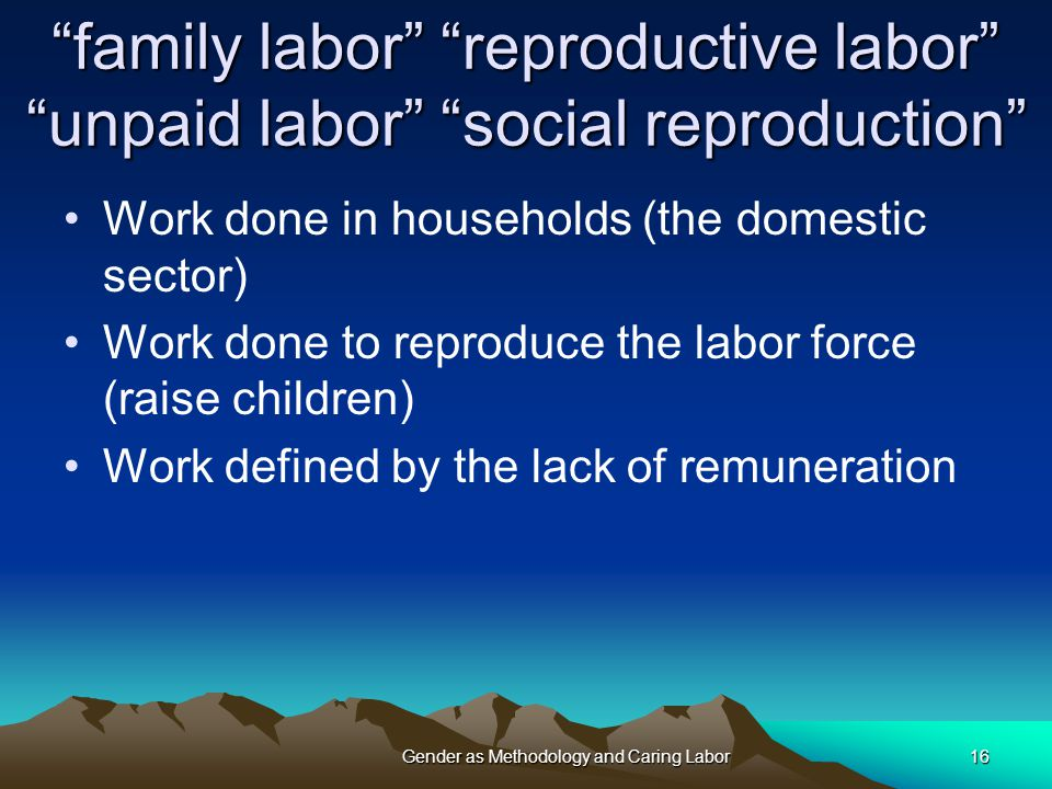 family labor reproductive labor unpaid labor social reproduction Work done in households (the domestic sector) Work done to reproduce the labor force (raise children) Work defined by the lack of remuneration Gender as Methodology and Caring Labor16