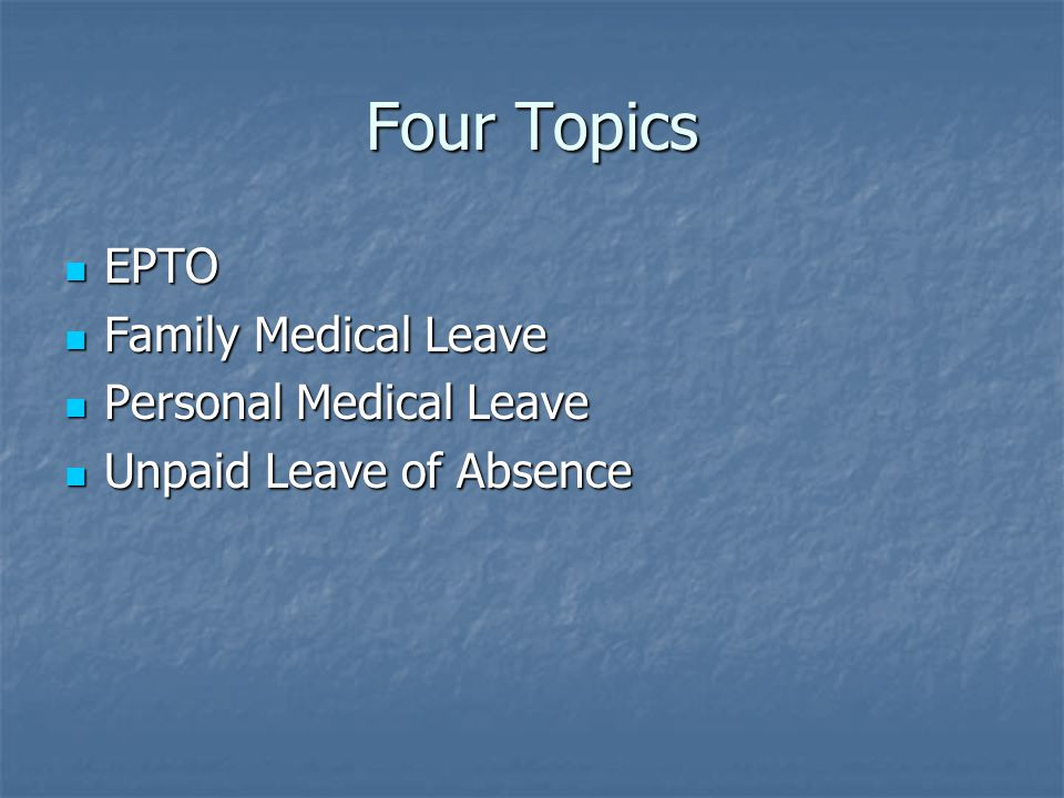 Emergency Paid Time Off Employee's illness Employee's illness Immediate Family Illness Immediate Family Illness Employee's parents Employee's parents Employee's children Employee's children Employee's spouse or domestic partner Employee's spouse or domestic partner All corresponding in-laws, foster, and step relatives All corresponding in-laws, foster, and step relatives Anyone living in the employees household Anyone living in the employees household Personal Emergency Personal Emergency