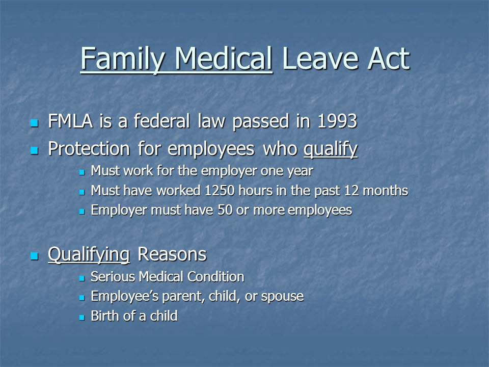 FMLA Defined Serious Medical Condition Serious Medical Condition Incapacity plus treatment more than 3 consecutive days Incapacity plus treatment more than 3 consecutive days Inpatient Hospitalization Inpatient Hospitalization Incapacity due to pregnancy Incapacity due to pregnancy Chronic permanent or long term condition supervised by a health care provider i.e.