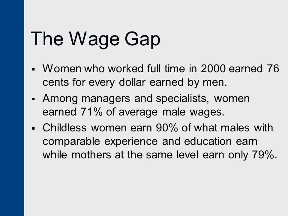 The Wage Gap  Women who worked full time in 2000 earned 76 cents for every dollar earned by men.