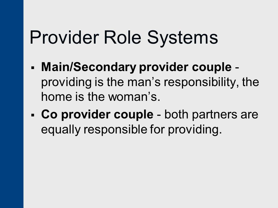 Provider Role Systems  Ambivalent provider couple-wife's providing responsibilities are not clearly acknowledged.
