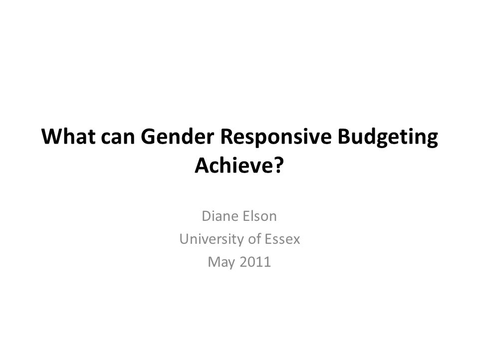 What is Gender Responsive Budgeting.