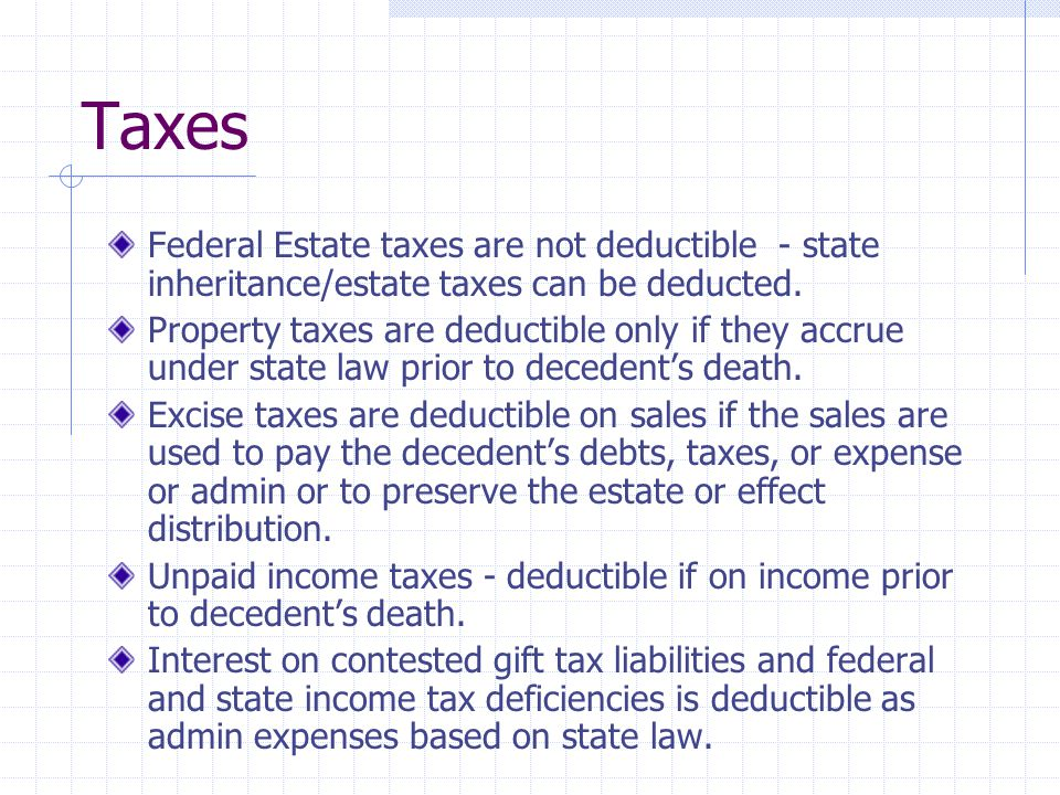 Charity Charitable deduction is allowed for property transferred by the decedent to or for the use of certain charities - see list on page 211 Transfers to individual members of religious order are not allowed as charitable deductions.
