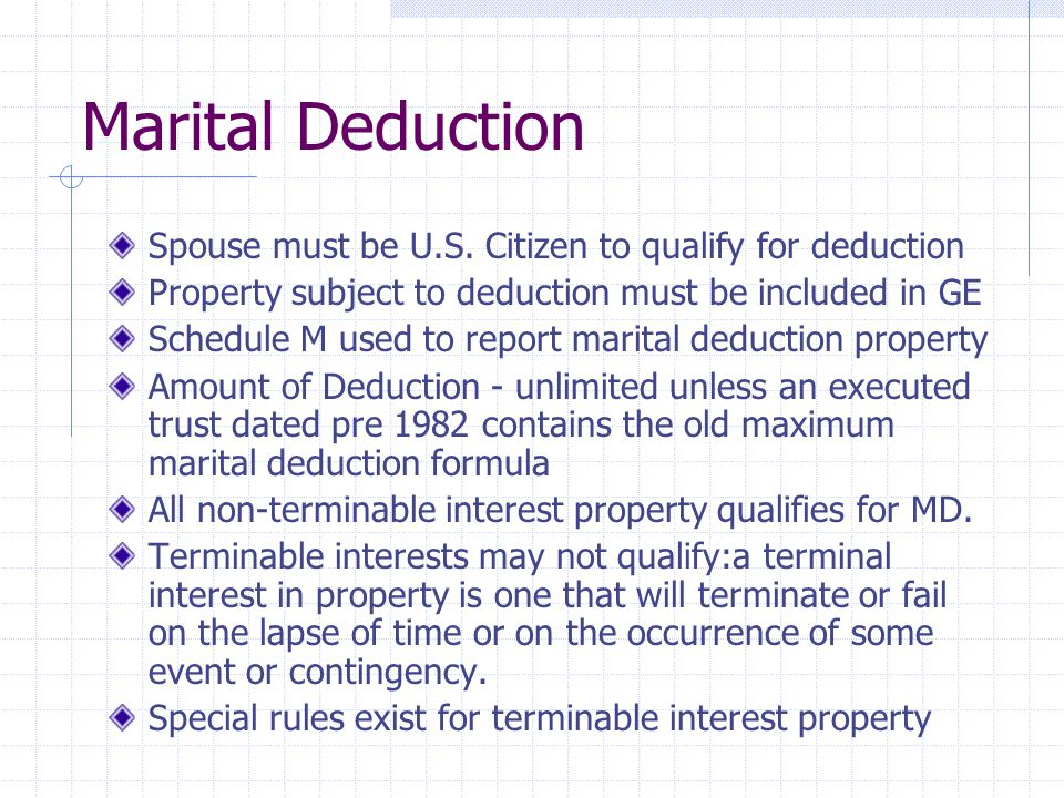 Valuation of Charitable Bequests Estate can claim a charitable deduction for the PV of income and remainder interests in property that is bequeathed or otherwise passes to qualifying charities FMV of an annuity, life estate, term for years, remainder, reversion or unitrust interest is its PV Rules for valuing transfers not exclusively for charitable purposes - guaranteed annuity trusts, pooled income funds etc - are determined using the respective provisions of Reg., 1.642, 1.664 or 20.2301 Contingent gifts not deductible unless chance that the charity will not receive the property is negligible.