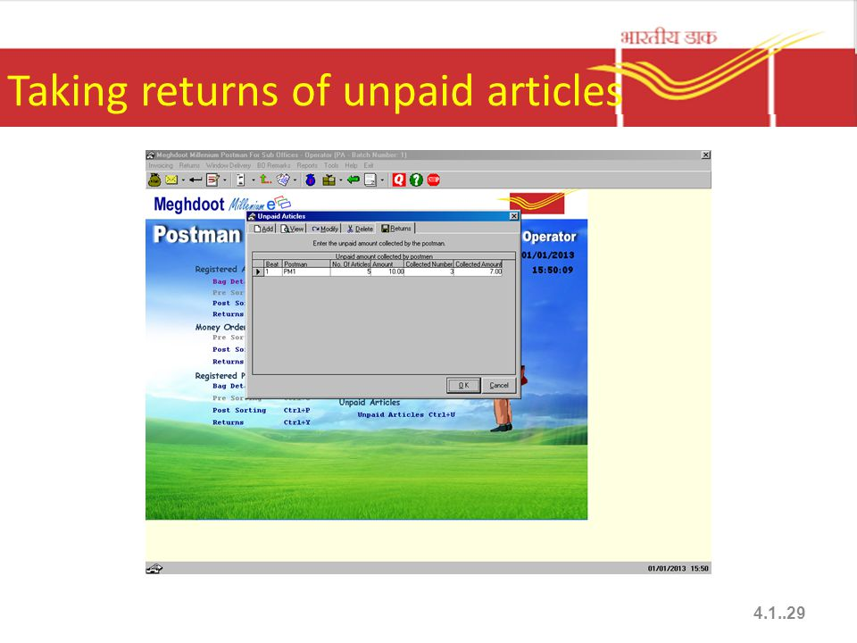 Taking returns of unpaid articles 4.1..29
