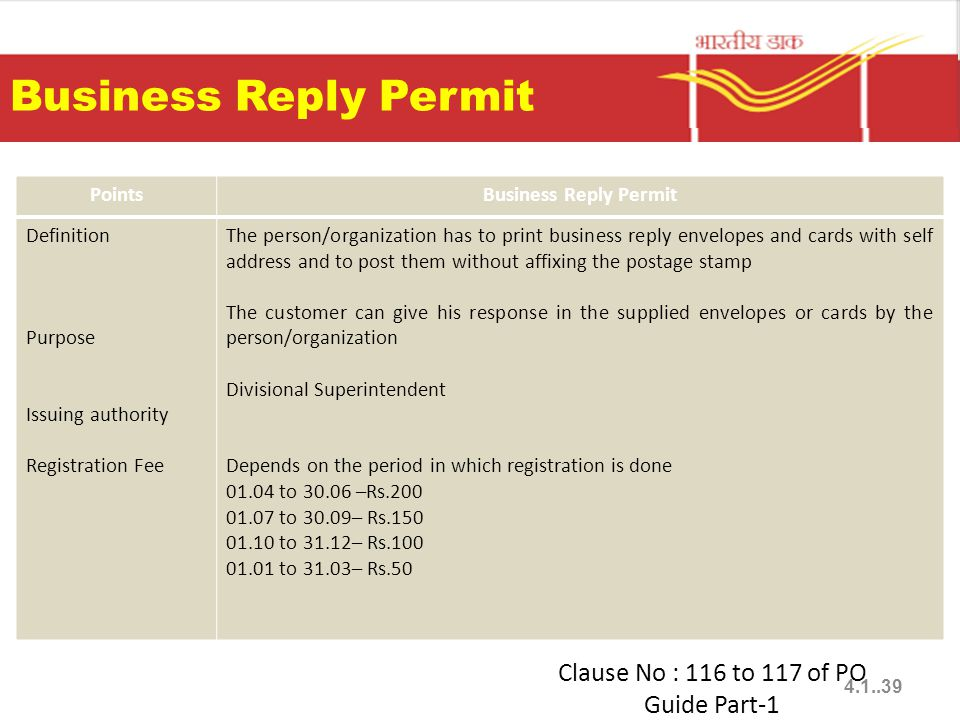 Business Reply Permit PointsBusiness Reply Permit Definition Purpose Issuing authority Registration Fee The person/organization has to print business