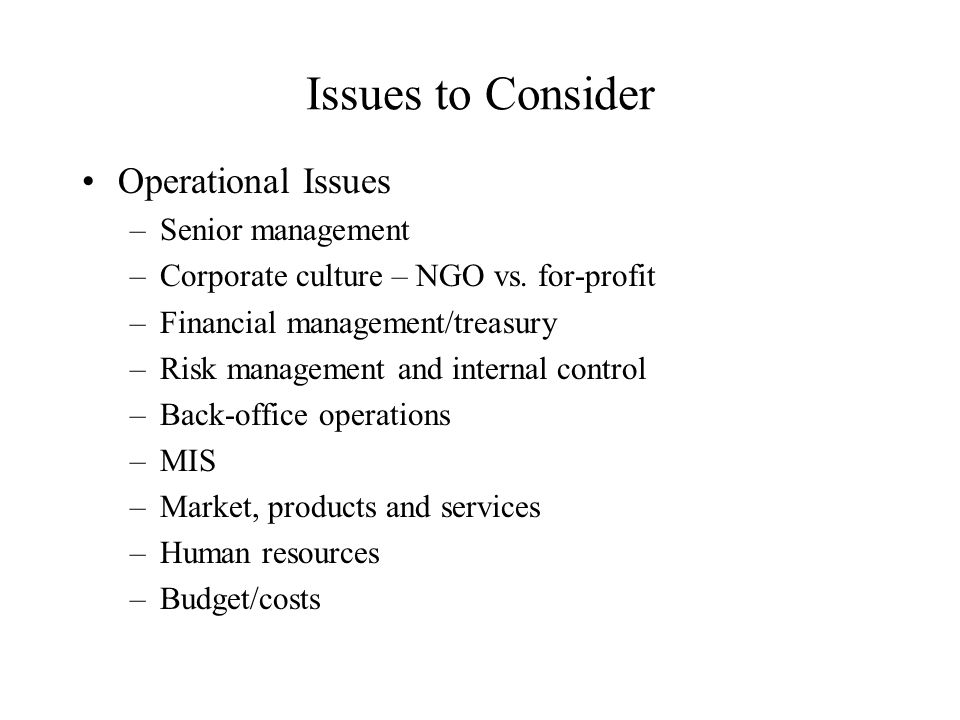 Issues to Consider Operational Issues –Senior management –Corporate culture – NGO vs. for-profit –Financial management/treasury –Risk management and i