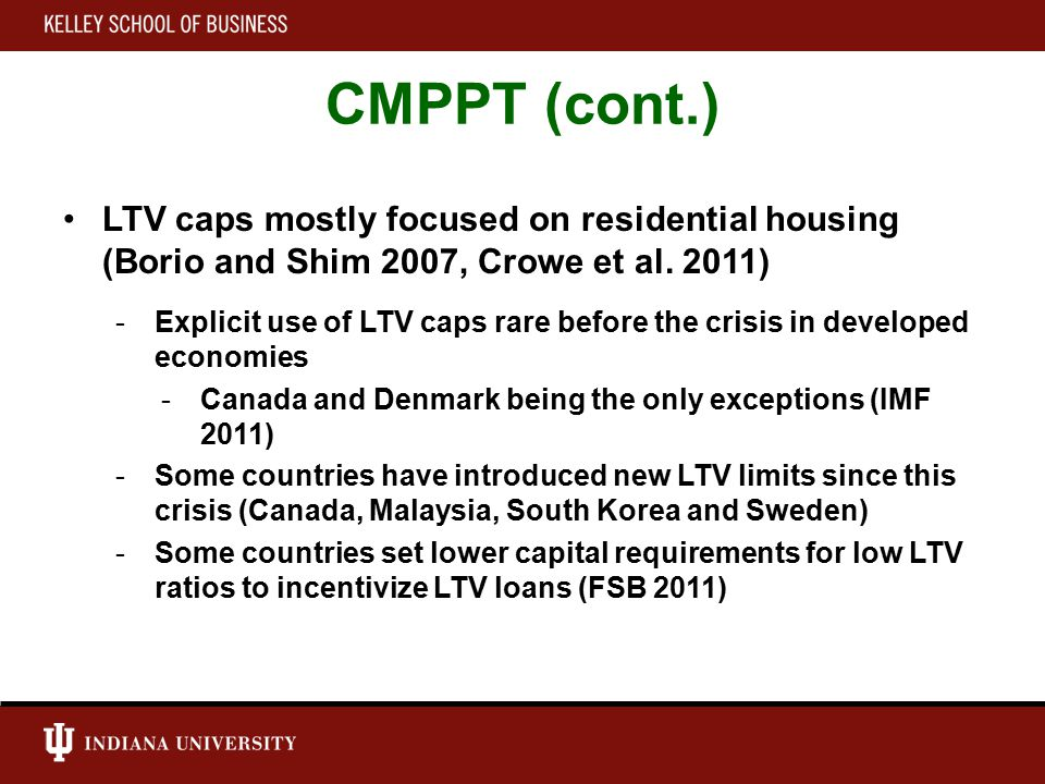 CMPPT (cont.) Effectiveness of LTV caps unsettled in the theoretical literature (e.g., Suh 2013 vs.