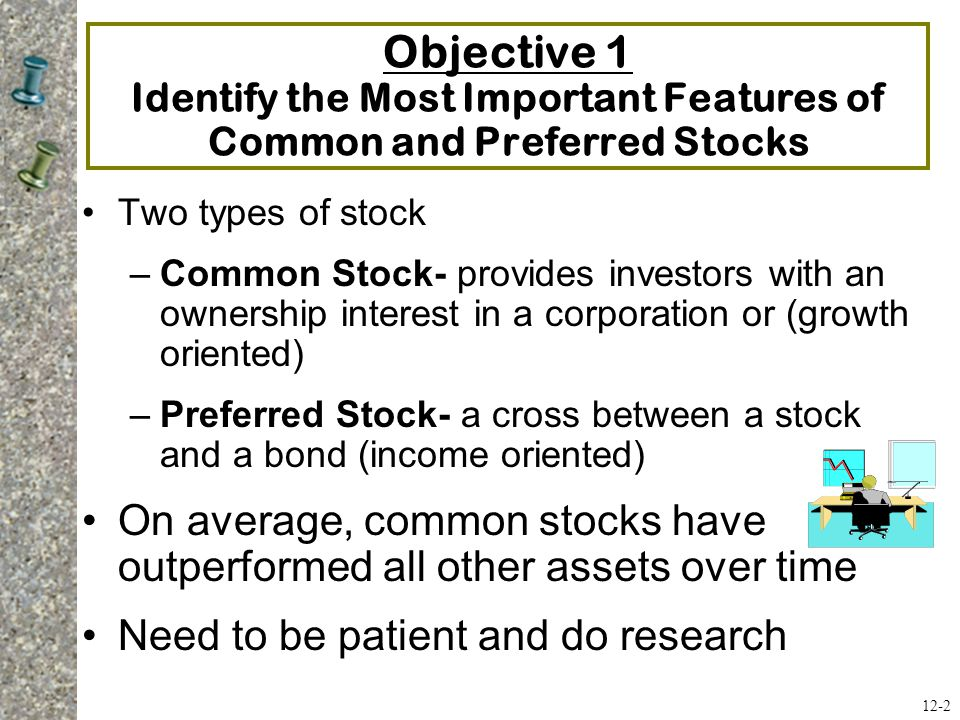 Objective 1 Identify the Most Important Features of Common and Preferred Stocks Two types of stock –Common Stock- provides investors with an ownership