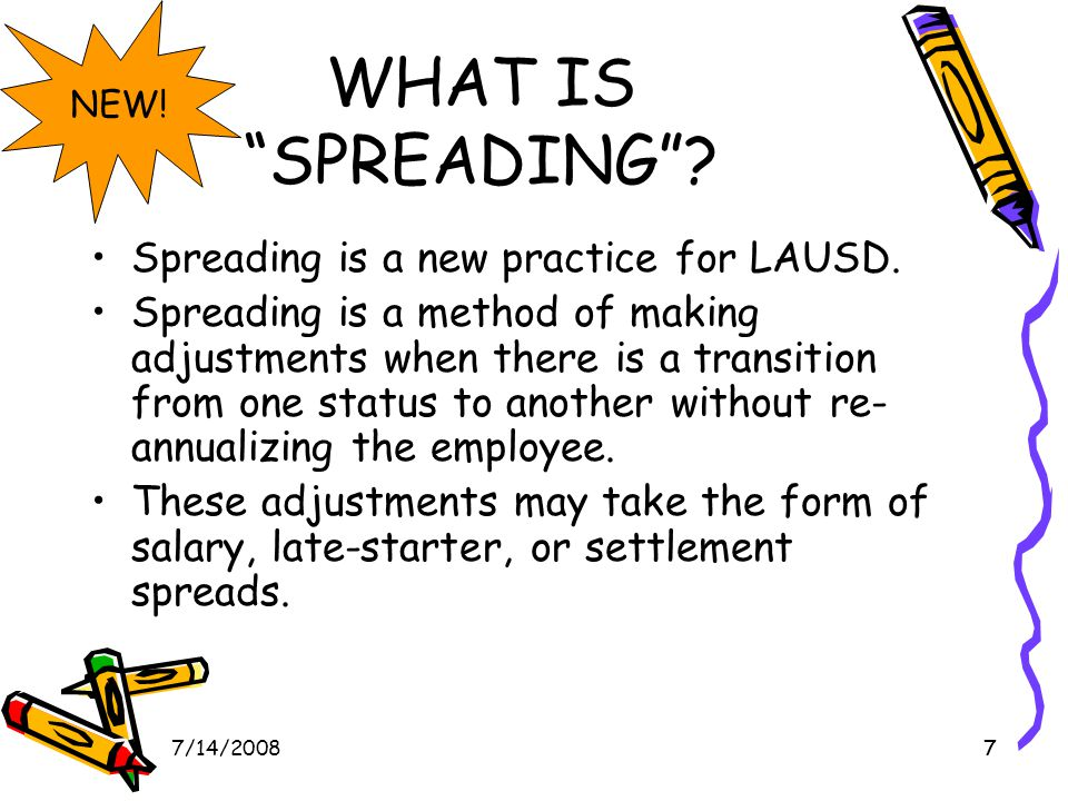 77/14/20087 WHAT IS SPREADING . Spreading is a new practice for LAUSD.