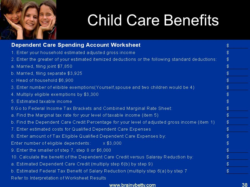 www.brainybetty.com38 Child Care Benefits