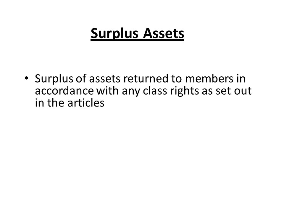 Surplus Assets Surplus of assets returned to members in accordance with any class rights as set out in the articles