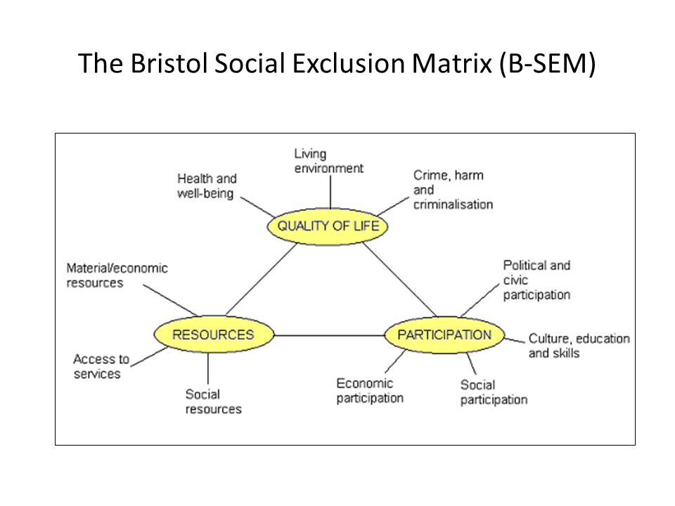 The Bristol Social Exclusion Matrix (B-SEM)