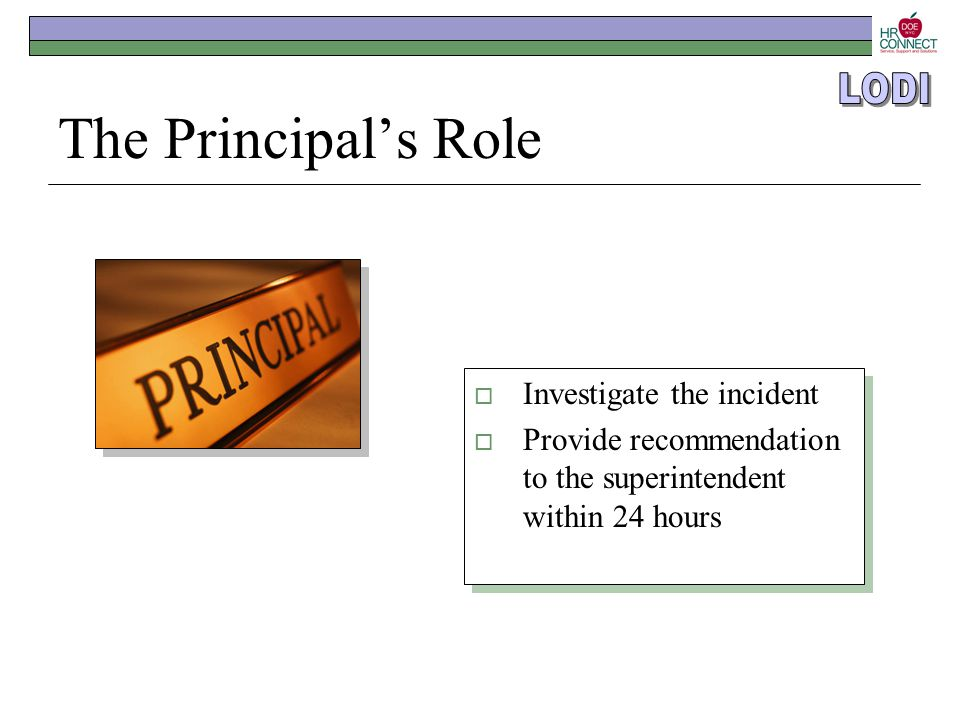 The Principal's Role  Investigate the incident  Provide recommendation to the superintendent within 24 hours  Investigate the incident  Provide re